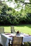 Ajuste de la mesa de picnic en patio trasero en verano foto de archivo