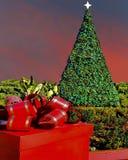 Ajuste de la Navidad con el árbol adornado en escena al aire libre de la puesta del sol Foto de archivo