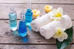 Ajuste de la salud del balneario en colores azules, amarillos y blancos Fotos de archivo libres de regalías