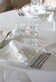 Ajuste de la tabla antes de la cena Foto de archivo