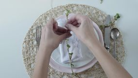 Ajuste de la tabla con los platos blancos en el fondo blanco la mujer dobla maravillosamente la servilleta en la placa Vector ele almacen de video