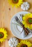 Ajuste de la tabla de cena de la acción de gracias Fotografía de archivo