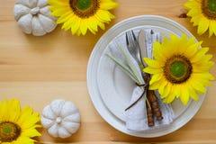 Ajuste de la tabla de cena de la acción de gracias Fotografía de archivo libre de regalías