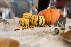 Ajuste de la tabla de cena de la acción de gracias Fotos de archivo libres de regalías
