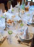 Ajuste de la tabla de la boda Imagen de archivo libre de regalías