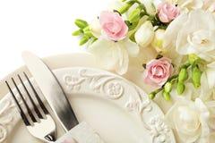Ajuste de la tabla de la boda imagenes de archivo