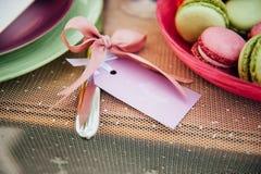 Ajuste de la tabla de la boda en estilo rústico Fotografía de archivo