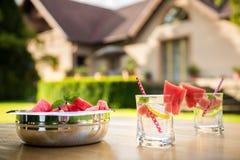 Ajuste de la tabla de la fiesta de jardín del verano Foto de archivo