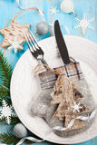 Ajuste de la tabla de la Navidad Fotos de archivo libres de regalías