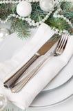 Ajuste de la tabla de la Navidad, decoración de la tabla en blanco Fotos de archivo