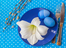 Ajuste de la tabla de Pascua Foto de archivo libre de regalías