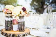 Ajuste de la tabla del almuerzo de la boda Imágenes de archivo libres de regalías