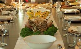 Ajuste de la tabla del Día de Acción de Gracias para Turquía Fotos de archivo