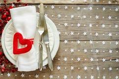 Ajuste de la tabla del día de tarjeta del día de San Valentín Fotos de archivo libres de regalías