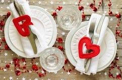 Ajuste de la tabla del día de tarjeta del día de San Valentín Fotografía de archivo