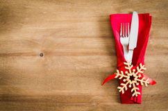 Ajuste de la tabla del invierno Fondo culinario de la Navidad Foto de archivo