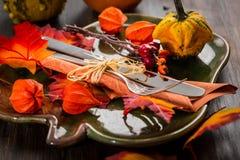 Ajuste de la tabla del otoño y de la acción de gracias Fotografía de archivo libre de regalías