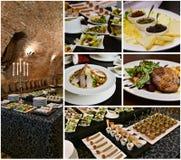 Ajuste de la tabla del partido, collage de la comida del abastecimiento foto de archivo libre de regalías