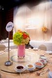 Ajuste de la tabla en ceremonia de boda Foto de archivo libre de regalías