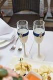 Ajuste de la tabla en restaurante fotografía de archivo libre de regalías