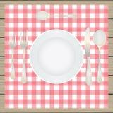 Ajuste de la tabla, etiqueta Placa, bifurcación, cuchara, cuchillo, tabla-napki Fotografía de archivo libre de regalías