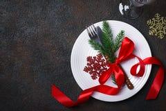 Ajuste de la tabla de la Navidad con las decoraciones de la Navidad Fotografía de archivo