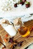 Ajuste de los aceites esenciales Aromatherapy.Spa Fotos de archivo libres de regalías