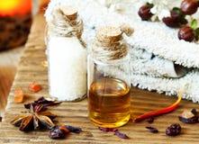 Ajuste de los aceites esenciales Aromatherapy.Spa Foto de archivo libre de regalías