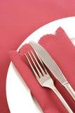 Ajuste de lugar com o guardanapo cor-de-rosa obscuro Imagem de Stock