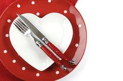 Ajuste de lugar da mesa de jantar feliz da ação de graças, do Valentim ou do Natal Imagem de Stock Royalty Free