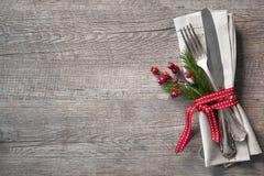 Ajuste de lugar da tabela do Natal Imagem de Stock