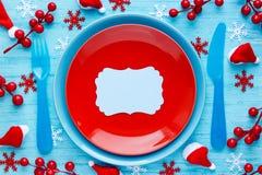 Ajuste de lugar da tabela do Natal com placa vazia imagem de stock royalty free