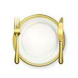 Ajuste de lugar do jantar do ouro ilustração stock