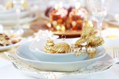 Ajuste de lugar luxuoso para o Natal Imagem de Stock