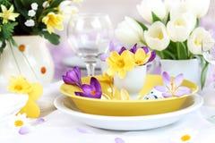 Ajuste de lugar para Easter com açafrões Imagem de Stock Royalty Free