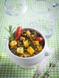 Ajuste de lugar que contem a batata e a couve galega Foto de Stock