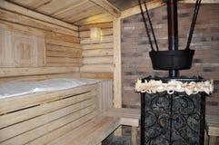 Ajuste de madera del baño ruso en color crema Fotografía de archivo
