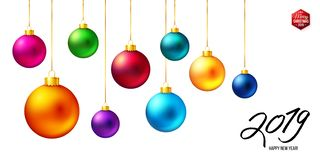 Ajuste de nove bolas coloridas realísticas do Natal que penduram ao longo do número preto 2019 ilustração do vetor