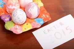 Ajuste de Pascua con la decoración de la caja y de la primavera de regalo Fotografía de archivo libre de regalías