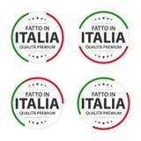 Ajuste de quatro ícones italianos, do título italiano feito em Itália, das etiquetas superiores da qualidade e dos símbolos ilustração royalty free
