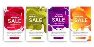 Ajuste de quatro projetos do cartaz de Autumn Sale nas cores diferentes que oferecem um desconto de até 50 por cento e ofertas es ilustração royalty free