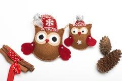 Ajuste de seis feltros feitos a mão das decorações do Natal foto de stock royalty free