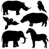 Ajuste 1 de silhuetas africanas dos animais Fotos de Stock