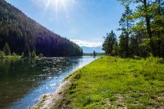 Ajuste de Sun en el río Snake Fotos de archivo libres de regalías