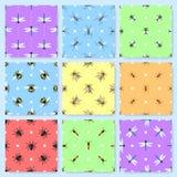 Ajuste de 9 testes padrões sem emenda com insetos diferentes ilustração stock