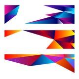 Ajuste de três bandeiras modernas com fundo poligonal ilustração do vetor
