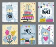Ajuste de três cartões felizes da festa de anos Ilustração desenhada mão do vetor ilustração do vetor