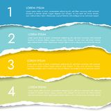 Ajuste de um infographics de quatro cores do papel rasgado com números e te ilustração do vetor