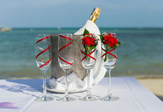 Ajuste de vidro do casamento Fotos de Stock Royalty Free
