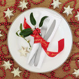 Ajuste decorativo de la tabla de la Navidad Fotografía de archivo
